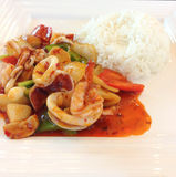 Alimento tailandese: Calamaro piccante fritto con i peperoncini rossi Immagine Stock Libera da Diritti