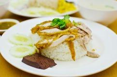Alimento tailandese del pollo con riso. Fotografie Stock