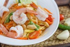 Alimento tailandese dell'insalata verde della papaia Fotografia Stock