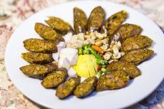 Alimento tailandese della miscela nordica di tradizione Salsiccie tailandesi, aue di Sai Immagine Stock Libera da Diritti