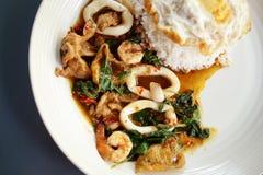 Alimento tailandese: il basilico caldo & piccante Immagine Stock