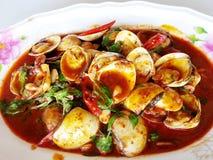 Alimento tailandese: Le scalpore delle coperture di Venere dello smalto hanno fritto con la pasta del peperoncino rosso fotografia stock libera da diritti