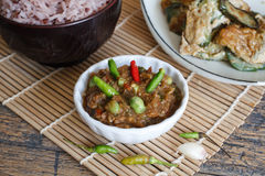 Alimento tailandese, patè piccante del gamberetto Fotografie Stock