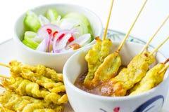 Alimento tailandese satay della carne di maiale arrostita Immagini Stock Libere da Diritti
