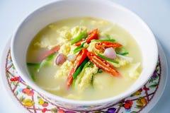 Alimento tailandese, uovo cotto a vapore, minestra dell'uovo fotografia stock libera da diritti