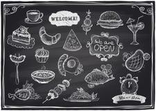 Alimento tirado mão e bebidas sortidos gráficos ilustração do vetor