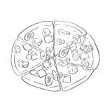Alimento tirado mão, estilo do esboço da pizza Grande para o mercado, restaurante, café, projeto da etiqueta do alimento Fotos de Stock