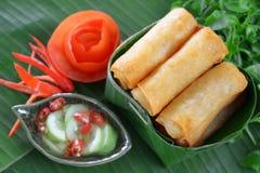 Alimento tradicional chinês friável dos rolos de mola Imagem de Stock