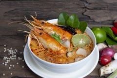 Alimento tradicional da sopa ?cida picante da sopa de Tom Yum Goong ou do camar?o em Tail?ndia imagem de stock royalty free