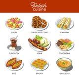 Alimento turco di cucina e piatti tradizionali Immagine Stock Libera da Diritti