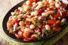 Alimento turco: Insalata di Piyaz con i fagioli, pomodori, cipolle, peperoni immagini stock libere da diritti