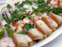 Alimento ucraniano: manteca de cerdo fresca salada (salo) Imágenes de archivo libres de regalías