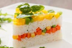 Alimento vegetariano, insalata del riso con le verdure, pasti sani fotografia stock libera da diritti