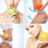 Alimento vegetariano, nutrizione, frutti e collage sano di cibo immagine stock libera da diritti