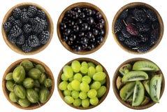 Alimento verde e nero Bacche e frutti isolati su fondo bianco Collage dei frutti differenti e bacche a verde ed al nero Immagini Stock
