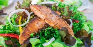 Alimento verde, limpo e coberto de urzes da salada Mouthwatering dos salmões foto de stock