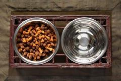 Alimento y agua de perro fotografía de archivo