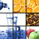 Alimento y collage de la bebida Imágenes de archivo libres de regalías