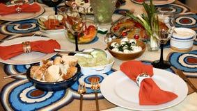 Alimento y table-1 Fotografía de archivo