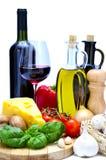 Alimento y vino mediterráneos Fotografía de archivo