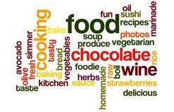 Alimento y Wordcloud el cocinar Imagen de archivo libre de regalías