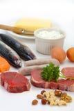 Alimentos abundantes en proteínas Imagen de archivo libre de regalías
