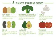 6 alimentos de combate do câncer Imagens de Stock Royalty Free