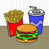 Alimentos de preparación rápida Almuerce con las fritadas, la hamburguesa y la bebida en una tabla en un café libre illustration