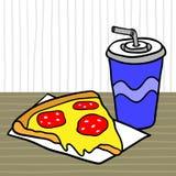 Alimentos de preparación rápida Almuerce con mentiras de la pizza y de la bebida en una tabla en un café stock de ilustración