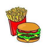 Alimentos de preparación rápida Almuerzo con las fritadas y la hamburguesa Fotografía de archivo libre de regalías