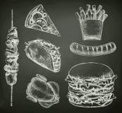 Alimentos de preparación rápida, bosquejos en la pizarra libre illustration