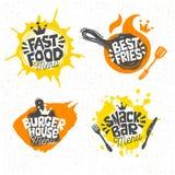 Alimentos de preparación rápida, casa de la hamburguesa, la mejor pizza, fritadas, logotipo, muestras, símbolos, emblemas, etique stock de ilustración
