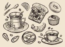 Alimentos de preparación rápida dé el bocadillo exhausto, postre, taza de café, té, buñuelo, cruasán, mollete Ejemplo del vector  Fotos de archivo libres de regalías