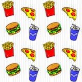 Alimentos de preparación rápida Dé el modelo inconsútil exhausto con las fritadas, hamburguesa, bebida, pizza libre illustration