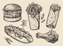 Alimentos de preparación rápida Dé la hamburguesa exhausta, hamburguesa, pizza, bocadillo, pierna de pollo, perrito caliente, bur libre illustration