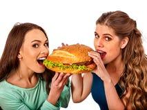 Alimentos de preparación rápida de la hamburguesa con el jamón Buen concepto de los alimentos de preparación rápida Fotografía de archivo