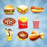 Alimentos de preparación rápida de los iconos Foto de archivo libre de regalías
