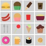 Alimentos de preparación rápida de los iconos Botones coloreados del vector Fotografía de archivo libre de regalías