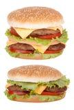 Alimentos de preparación rápida del cheeseburger doble imagen de archivo libre de regalías