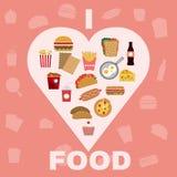 Alimentos de preparación rápida e iconos grandes de los bocados fijados Foto de archivo libre de regalías
