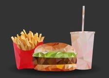 Alimentos de preparación rápida en la hamburguesa del backgorund, las patatas fritas y la bebida oscuras, triangulación, vector r fotos de archivo