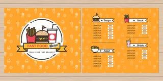 Alimentos de preparación rápida, hamburguesa, diseño del menú de las patatas fritas, diseño del folleto, plantilla del menú con l Fotos de archivo libres de regalías