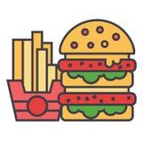 Alimentos de preparación rápida, hamburguesa y concepto de las patatas fritas Ilustración del Vector