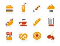 Alimentos de preparación rápida, iconos de los Sweeties y de la panadería | Sol Ho Fotos de archivo