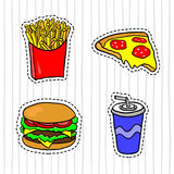 Alimentos de preparación rápida Insignias, remiendos, etiquetas engomadas Fritadas, pizza, hamburguesa, bebida en estilo cómico stock de ilustración