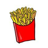 Alimentos de preparación rápida Patatas fritas del vector en paquete rojo del cartón libre illustration