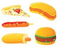 Alimentos de preparación rápida - perrito caliente, hamburguesa y pizza Fotografía de archivo