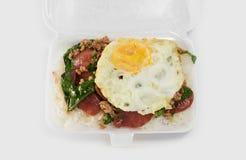 Alimentos de preparación rápida tailandeses en caja de la espuma Fotos de archivo
