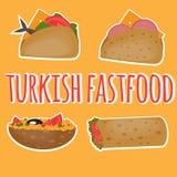 Alimentos de preparación rápida turcos, comida tradicional de la calle, cocina turca libre illustration