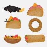 Alimentos de preparación rápida turcos, comida tradicional de la calle, cocina turca stock de ilustración
